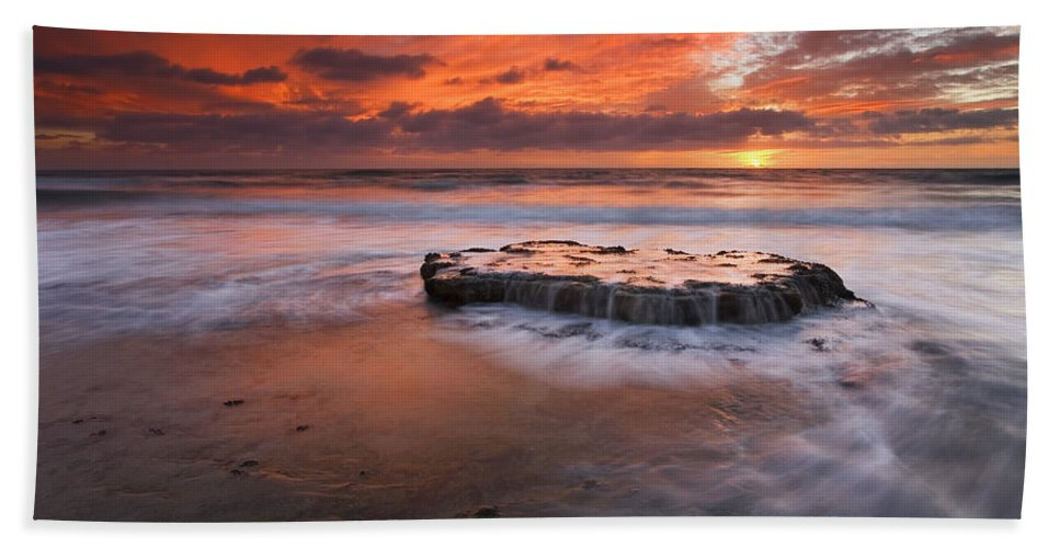 Island Beach Towel featuring the photograph Island In The Storm by Mike Dawson