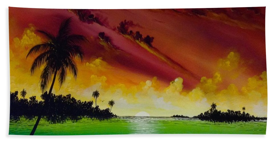 Sunset Ocean Beach Water Sun Island Palm Palm Tree Grass Blue Sea Green Yellow Purple Paint Colors Colorful Canvas Art Paintings Painting Paint Keys Key West Sky Orange Sky Happy Beach Towel featuring the painting Island Sunset by Rafael Medina