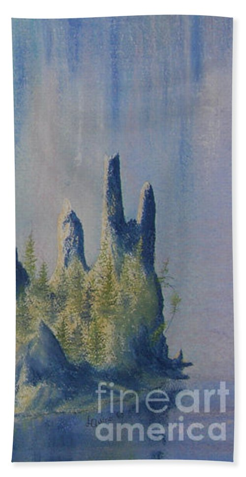 Island Beach Towel featuring the painting Isle Of Reflection by Lynn Quinn