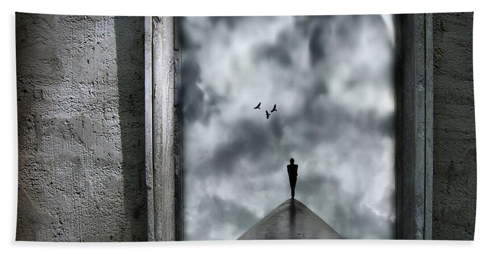 Dark Beach Towel featuring the painting Isolation by Jacky Gerritsen