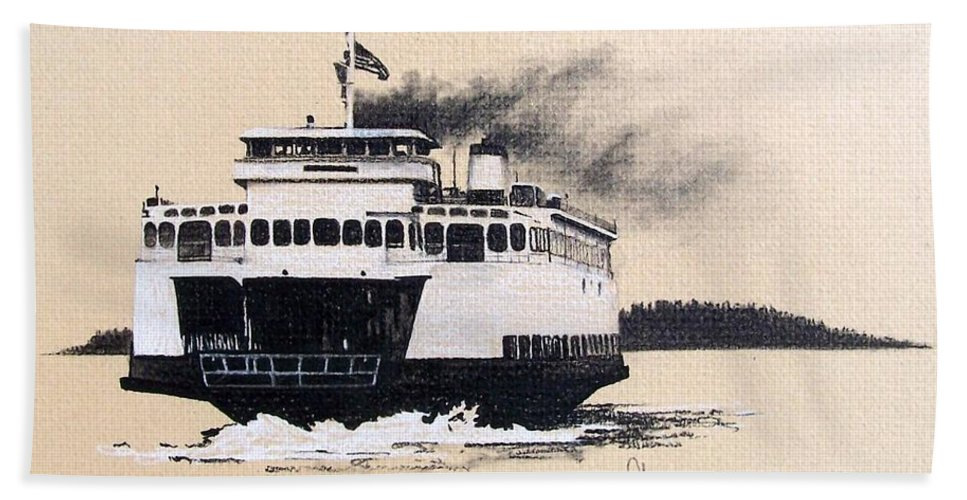 Ferry Beach Towel featuring the pastel Issaquah by Gale Cochran-Smith