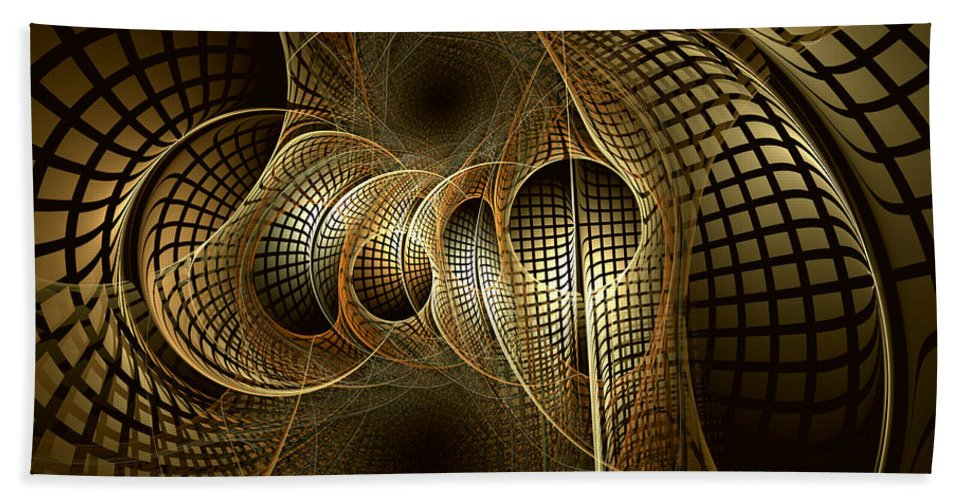 Abstract Beach Towel featuring the digital art Issuance Of The Metropole by Casey Kotas
