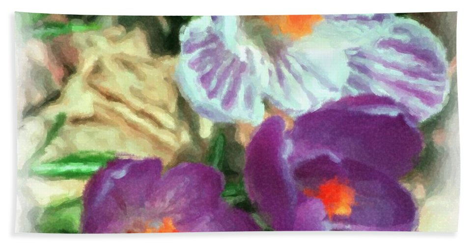 Digital Photography Beach Towel featuring the photograph Ist Flowers In The Garden 2010 by David Lane