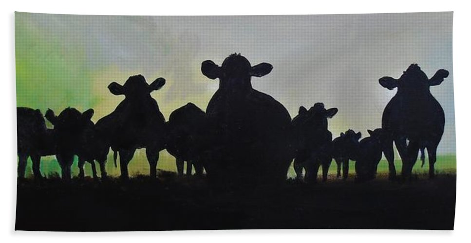 Cow Beach Towel featuring the painting It Aint Texas by Terence R Rogers