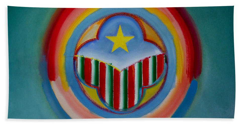 Button Beach Towel featuring the painting Italian American by Charles Stuart