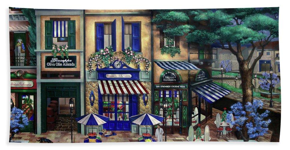 Italian Beach Towel featuring the mixed media Italian Cafe by Curtiss Shaffer
