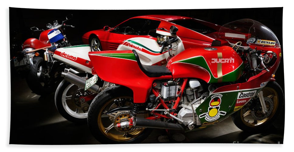 Motorcycle Beach Towel featuring the photograph Italian Garage by Frank Kletschkus
