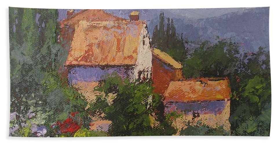 Italy Beach Towel featuring the painting Italian Village by Chris Hobel