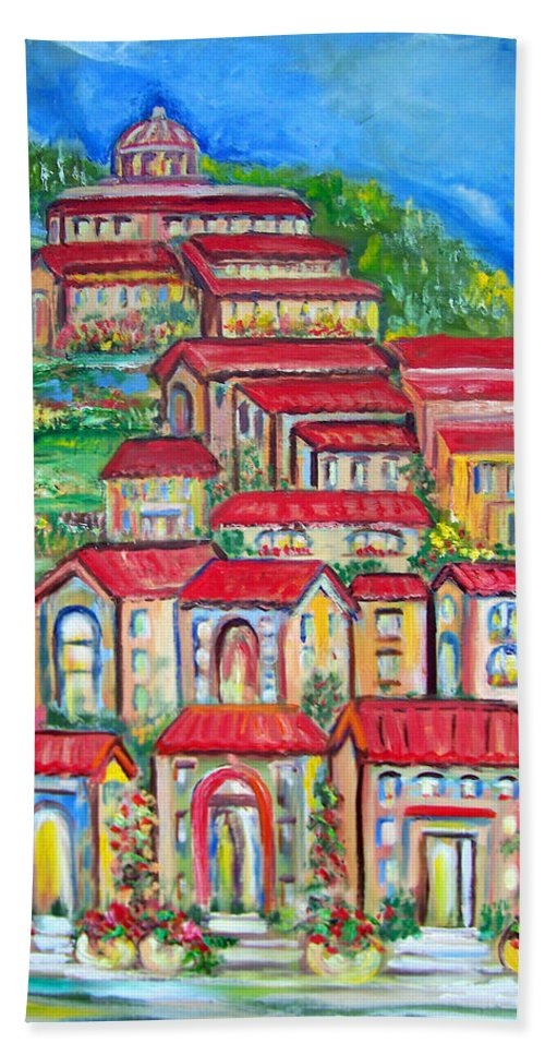 Tuscan Village Beach Towel featuring the painting Italian Village On A Hill by Patricia Taylor