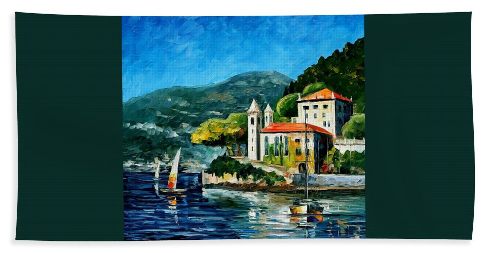 Afremov Beach Towel featuring the painting Italy - Lake Como - Villa Balbianello by Leonid Afremov