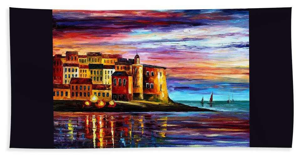 Afremov Beach Towel featuring the painting Italy - Liguria by Leonid Afremov