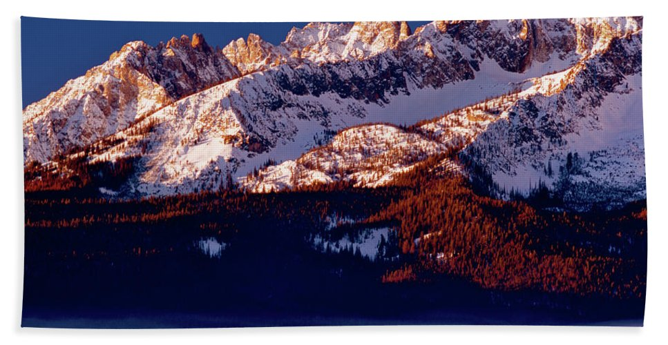 Mountains Beach Towel featuring the photograph Its A New Day First Light Sawtooth Range by Ed Riche