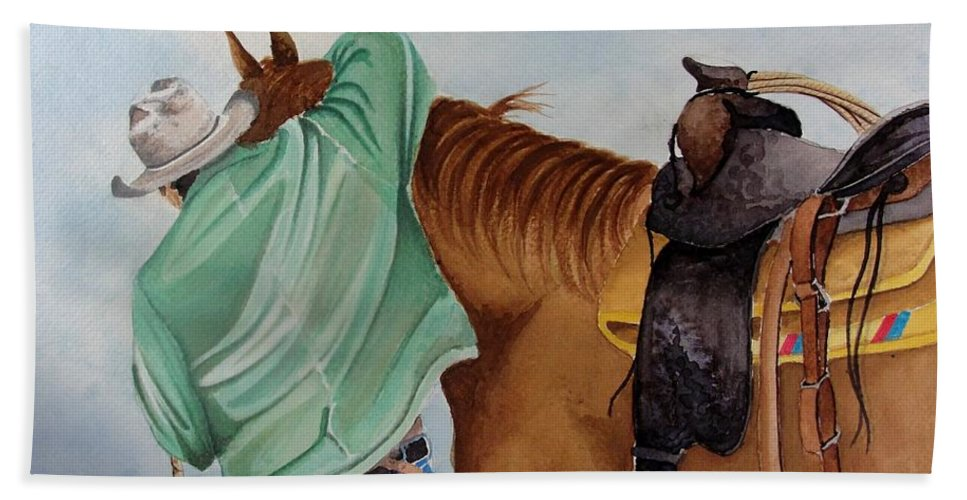 Boots Beach Towel featuring the painting Its Just Us by Jimmy Smith