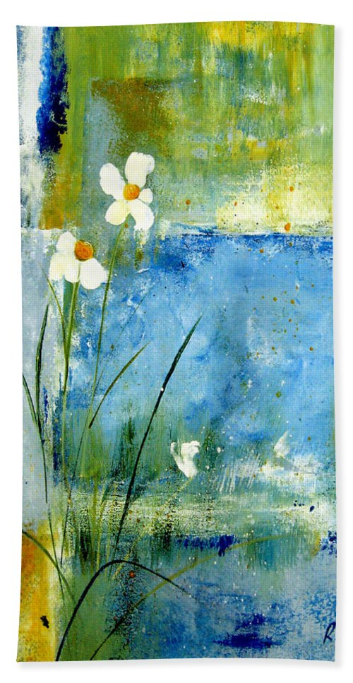 Abstract Beach Towel featuring the painting It's Just You And Me by Ruth Palmer