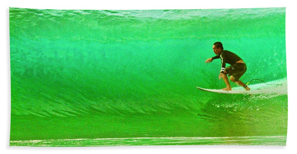 Surf Beach Towel featuring the photograph It's Not Easy Being Green by Mike Judice