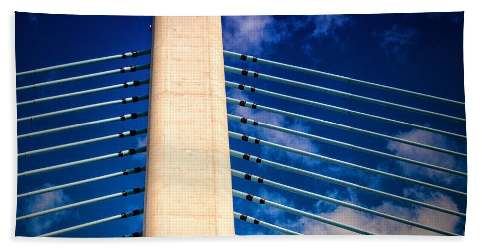 Indian River Bridge Beach Towel featuring the photograph Ivory Tower At Indian River Inlet by Bill Swartwout Fine Art Photography