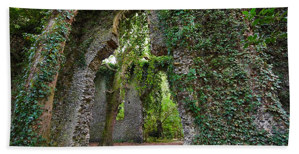 Travel Beach Towel featuring the photograph Ivy Clad Ruin by Louise Heusinkveld