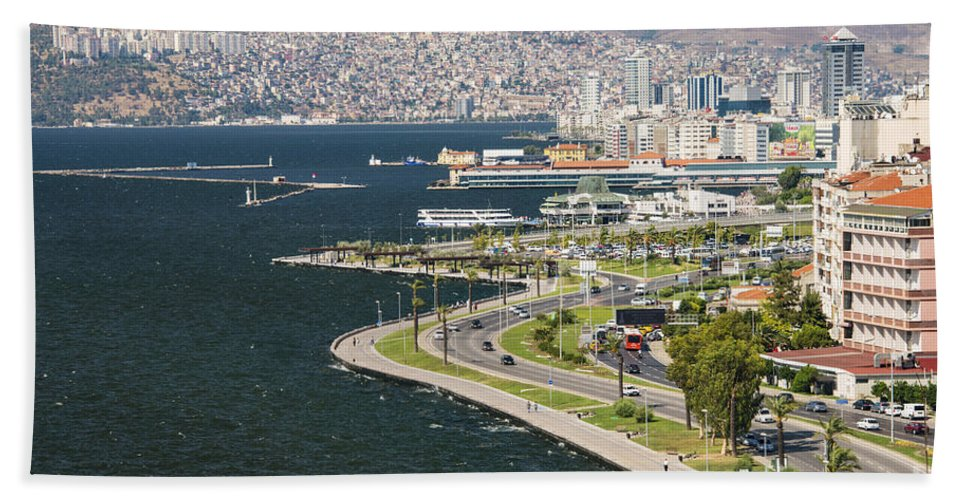 Gulf Of Izmir Turkey Aegean Water Boat Boats Road Roads City Cities Cityscape Cityscapes Building Buildings Structure Structures Landscape Landscapes Waterscape Waterscapes Beach Towel featuring the photograph Izmir By The Sea by Bob Phillips