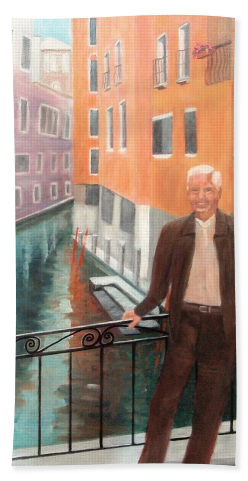 Venice Beach Towel featuring the painting Jack In Venice by Jamie Frier