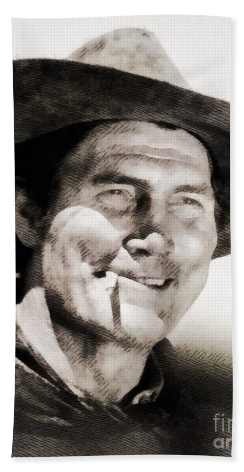 Hollywood Beach Towel featuring the painting Jack Palance, Vintage Actor by John Springfield