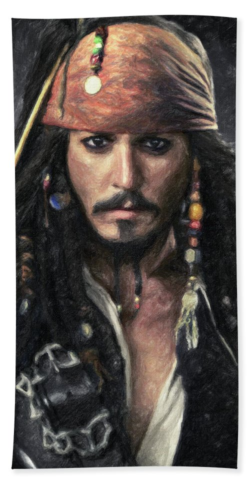 Jack Sparrow Beach Towel featuring the painting Jack Sparrow by Zapista Zapista