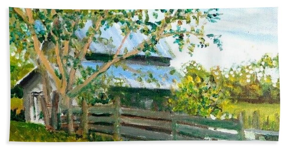 Barn Beach Towel featuring the painting Jack's Place by James H Phillips