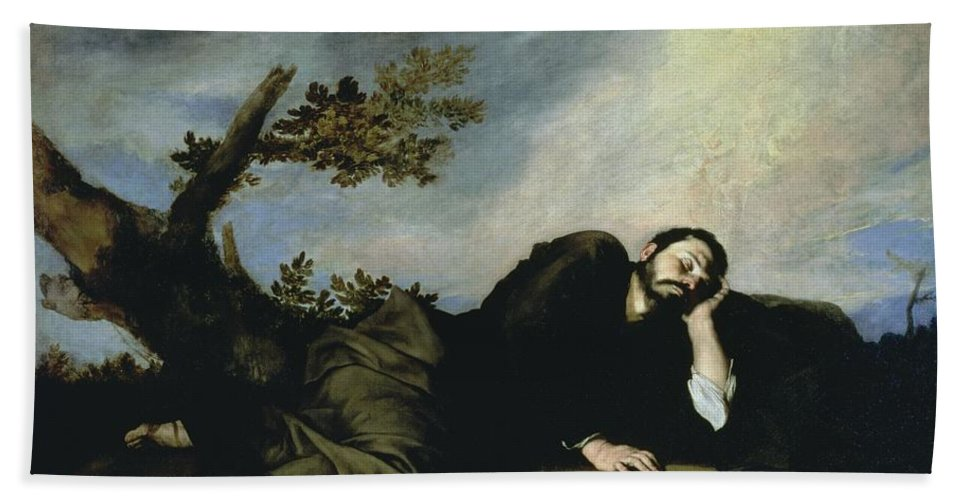 Jacob's Dream Beach Towel featuring the painting Jacobs Dream by Jusepe de Ribera