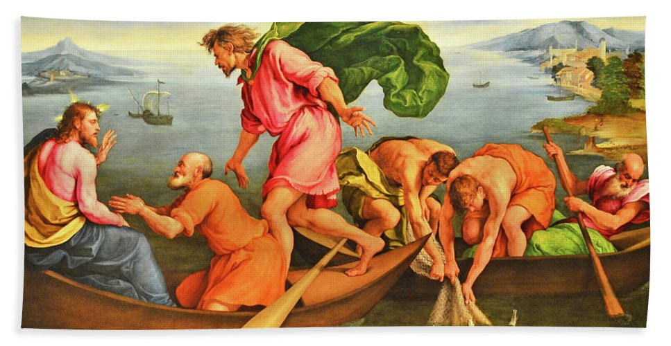 Jacopo Bassano Beach Towel featuring the photograph Jacopo Bassano Fishes Miracle by Munir Alawi