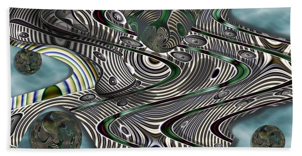Abstract Beach Towel featuring the digital art Jade Worlds by Ron Bissett