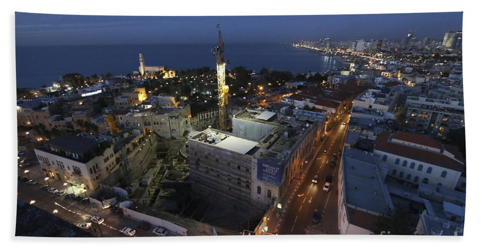 Night Beach Towel featuring the photograph Jaffa At Night Aerial View by Dragonfly