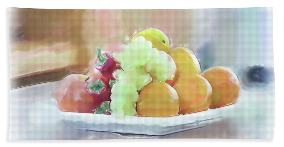 Still Life Beach Towel featuring the painting Jaffa Fruits by Harald Hillemanns