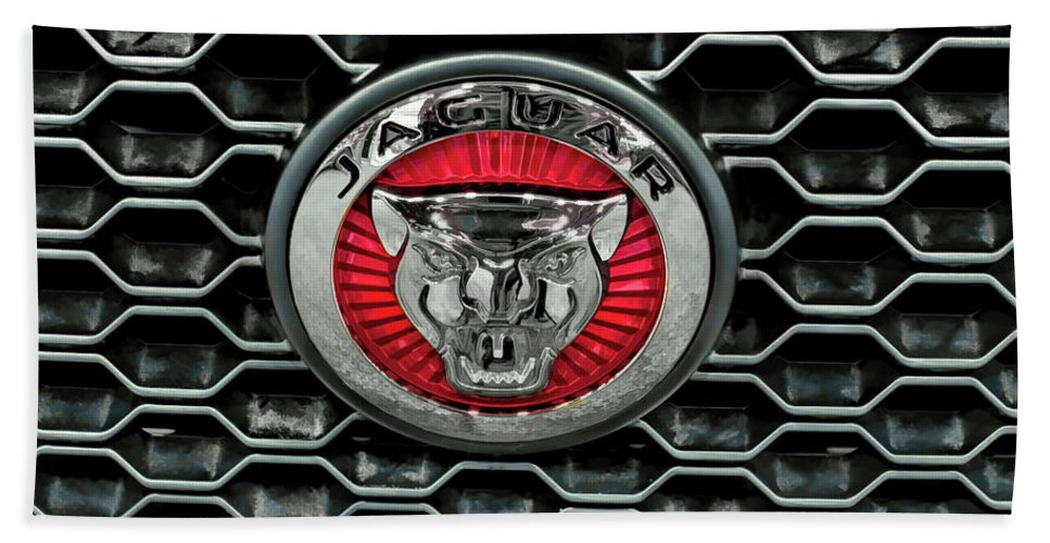 jaguar cars emblem v2 beach sheet for sale by john straton