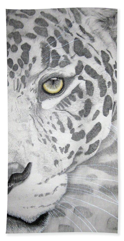Jaguar Photographs Beach Towel featuring the drawing Jaguar by Mayhem Mediums