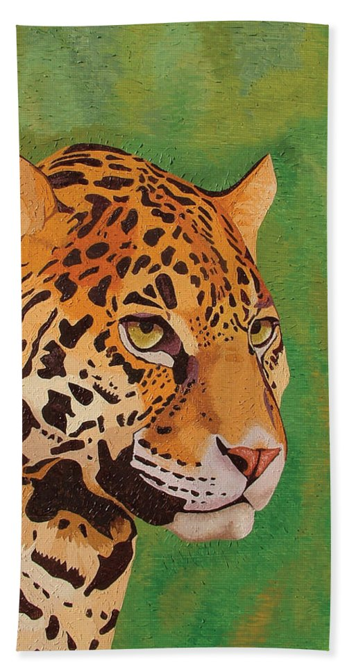 Oil Beach Towel featuring the painting Jaguar by Peter Antos