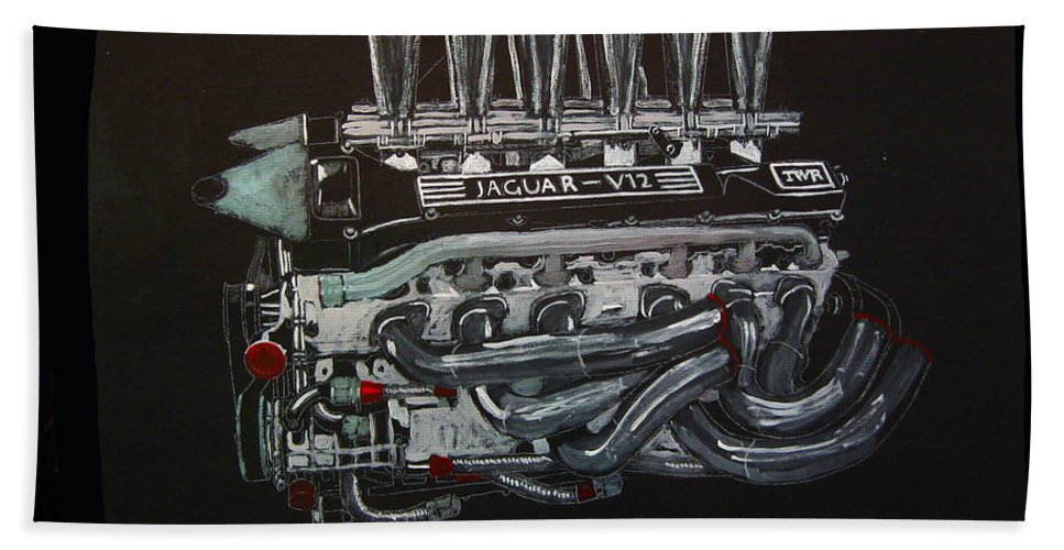 Jaguar Beach Towel featuring the painting Jaguar V12 Twr Engine by Richard Le Page