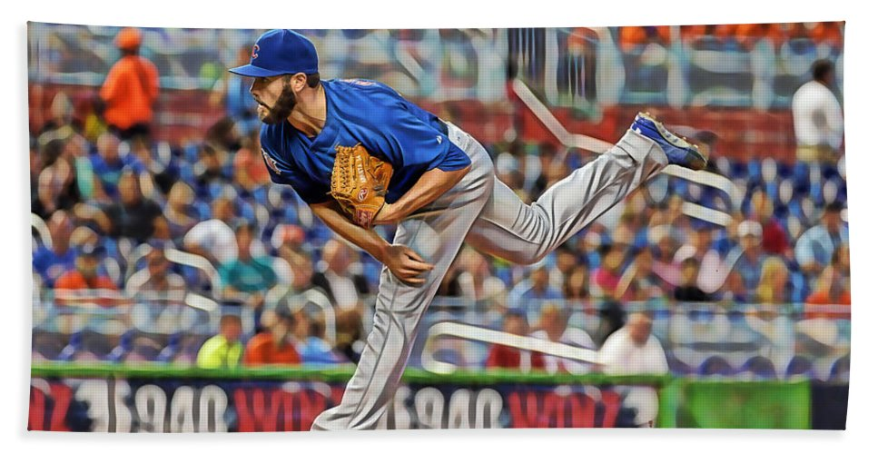 Jake Arrieta Beach Towel featuring the mixed media Jake Arrieta Chicago Cubs Pitcher by Marvin Blaine