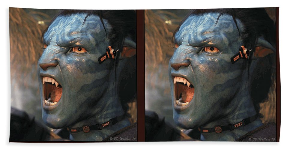 3d Beach Towel featuring the photograph Jake Sully - Gently Cross Your Eyes And Focus On The Middle Image by Brian Wallace