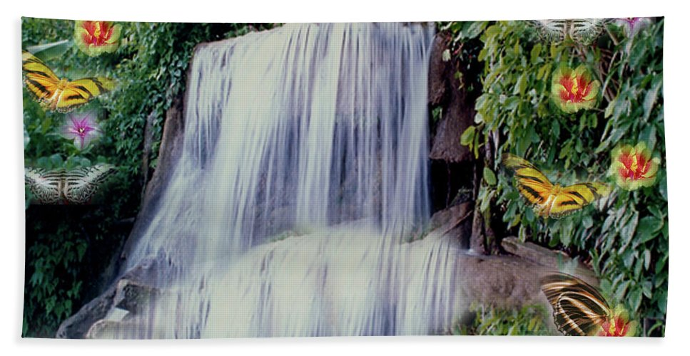 Water Beach Towel featuring the photograph Jamaican Waterfalls by Donna Brown