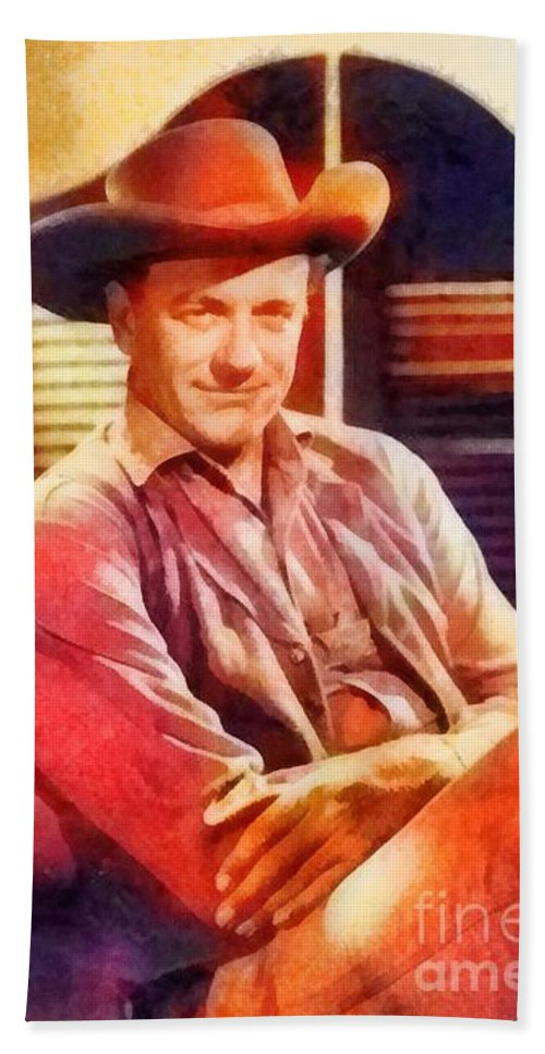 Hollywood Beach Towel featuring the painting James Arness, Vintage Hollywood Actor by Frank Falcon