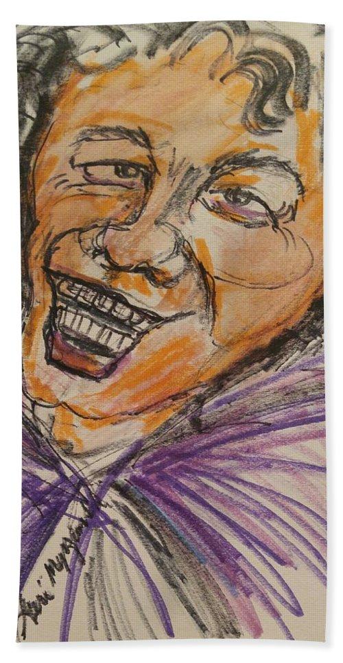 James Brown Beach Towel featuring the painting James Brown by Geraldine Myszenski