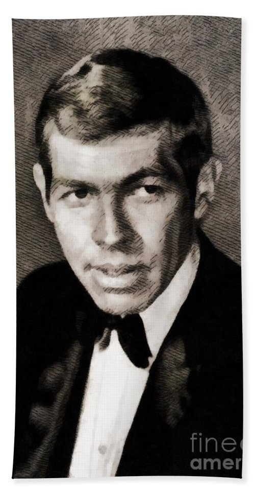 Hollywood Beach Towel featuring the painting James Coburn, Vintage Actor by John Springfield