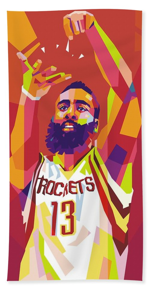 a7d665268e5 Wpap Beach Towel featuring the digital art James Harden Wpap by Gilang Bogy