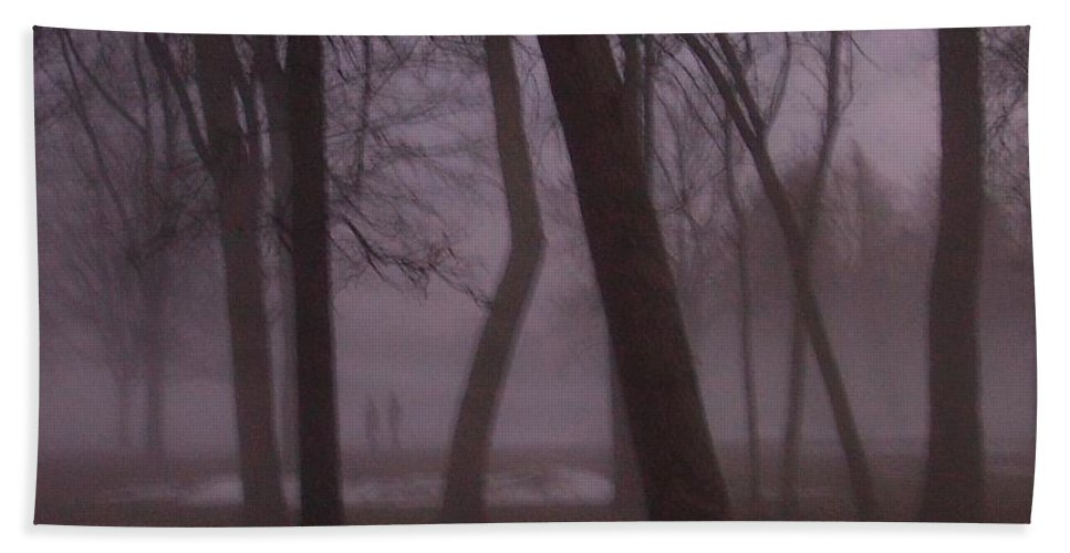 January Beach Sheet featuring the photograph January Fog 1 by Anita Burgermeister