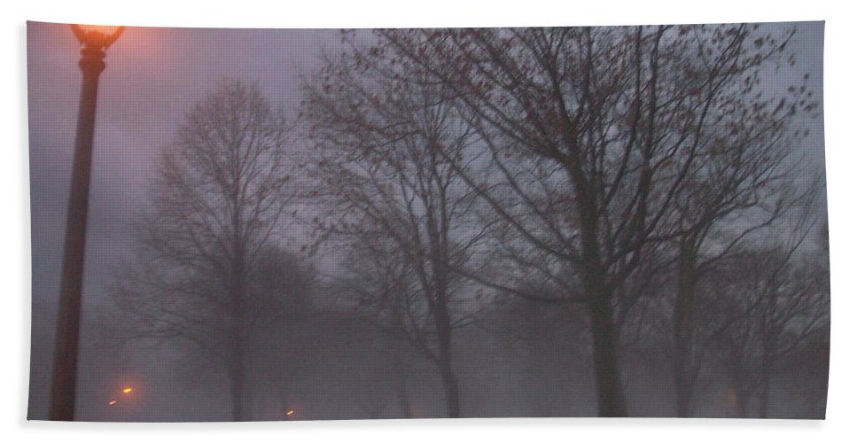 January Beach Sheet featuring the photograph January Fog 3 by Anita Burgermeister