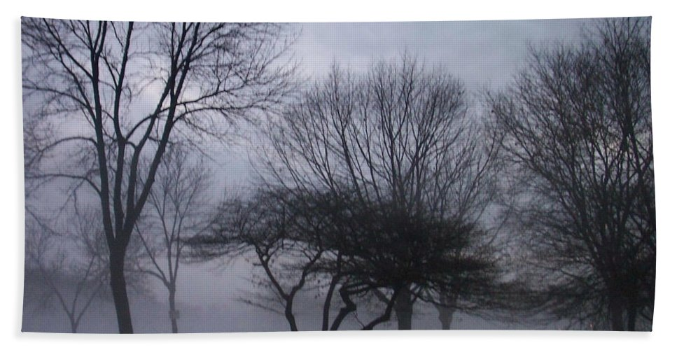 January Beach Sheet featuring the photograph January Fog 6 by Anita Burgermeister