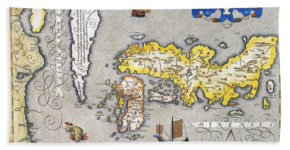 1606 Beach Towel featuring the photograph Japan: Map, 1606 by Granger