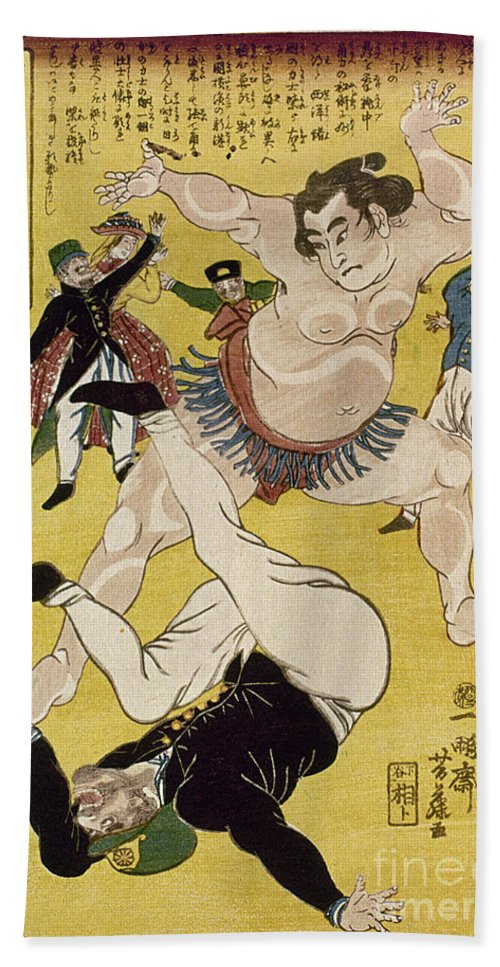 1861 Beach Towel featuring the photograph Japan: Sumo Wrestling by Granger