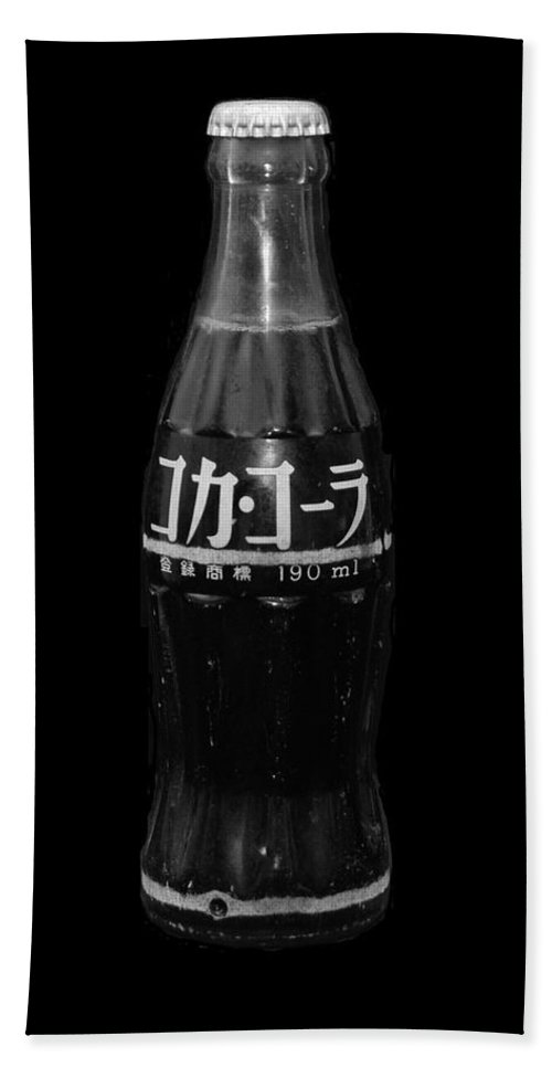 Black And White Beach Towel featuring the photograph Japanese Coca Cola by Rob Hans