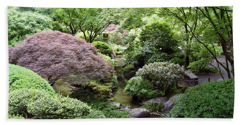 Photography Beach Towel featuring the photograph Japanese Garden by Loretta Luglio