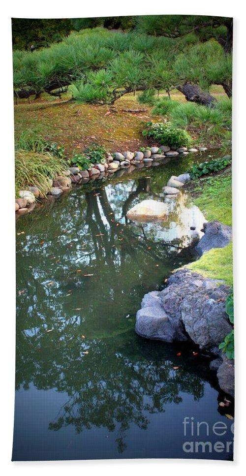 Japanese Garden Beach Towel featuring the photograph Japanese Garden Reflection by Carol Groenen